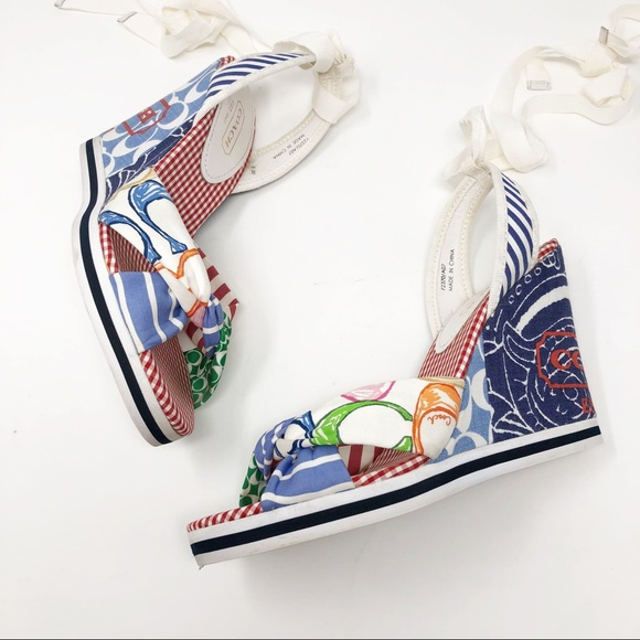 Coach Shoes - Coach Tammie Patchwork Wedge With Ankle Ribbon Tie